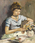 Fine Art - Painting, European:Contemporary   (1950 to present)  , MARCEL DYF (French 1899 - 1985). Young Girl by a Table with Flowers. Oil on canvas. 24 x 20 inches. Signed lower right, ...