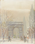 American:Impressionism, JOHANN BERTHELSEN (American 1883-1972). Washington Square,Winter Afternoon. Oil on canvasboard. 12in.x 8in.. Signedlow...