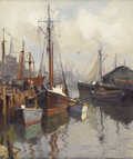 Fine Art - Painting, American:Modern  (1900 1949)  , EMILE ALBERT GRUPPE (American 1896 - 1978). GloucesterHarbor, circa 1930 - 1940s. Oil on canvas. 30 x 25 inches.Signed...