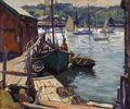 Fine Art - Painting, American:Modern  (1900 1949)  , EMILE ALBERT GRUPPE (American 1896 - 1978). Boats at Dock,Gloucester, Massachusetts, circa late 1920s - 1930s. Oil onc...
