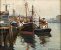 Fine Art - Painting, American:Modern  (1900 1949)  , EMILE ALBERT GRUPPE (American 1896 - 1978). Early Morning,Gloucester, circa 1930 - 1940s. Oil on canvas. 25 x 30inches...