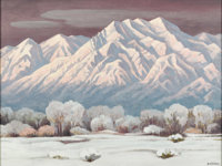 EMIL JAMES BISTTRAM (American 1895 - 1976) Sacred Mountain (Sangre de Cristo Mountain Range East of Santa Fe, NM) Oil...