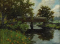 Fine Art - Painting, American:Modern  (1900 1949)  , ERIC SLOANE (American 1905 - 1985). Covered Bridge. Oil oncanvas laid on board. 17 x 23 inches. Taped label on revers...