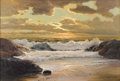 Paintings, ROBERT WILLIAM WOOD (American 1889 - 1979). Sunset Laguna Beach, California. Oil on canvas. 24 x 36 inches. Signed lower...