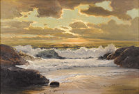 ROBERT WILLIAM WOOD (American 1889 - 1979) Sunset Laguna Beach, California Oil on canvas 24 x 36 inches Signed lower
