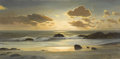 Fine Art - Painting, American:Contemporary   (1950 to present)  , ROBERT WILLIAM WOOD (American 1889 - 1979). Sunset Cove. Oilon canvas. 20 x 40 inches. Signed lower right. Stamp of Rob...