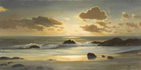 ROBERT WILLIAM WOOD (American 1889 - 1979) Sunset Cove Oil on canvas 20 x 40 inches Signed lower right Stamp of Rob