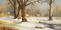 ROBERT WILLIAM WOOD (American 1889 - 1979) December, 1970 Oil on canvas 24 x 48 inches Stamp of Robert Wood to rever