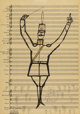 SAUL STEINBERG (Romanian 1914 - 1999) Passantino Brand No. 92 Ink on music paper 22 x 15-1/2 inches Signed lower rig