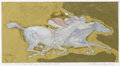 Fine Art - Painting, European:Contemporary   (1950 to present)  , GUILLAUME AZOULAY (Moroccan b.1949). Etude, circa 1990.Pencil on paper with gold. 11 x 11 inches. ...