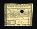 Colonial Notes:Massachusetts, Massachusetts May 5, 1780 $8 Very Choice New. A superb gem example in every regard but for the small left margin. The paper...