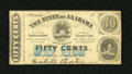 """Obsoletes By State:Alabama, Montgomery, AL- State of Alabama 50¢ Jan 1, 1863. A light fold is noticed along with a pencilled """"4"""" Criswell number on the ..."""