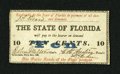 Obsoletes By State:Florida, Tallahassee, FL- State of Florida 10¢ Feb. 2, 1863. This note exhibits embossing. Crisp Uncirculated....