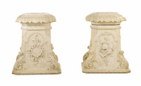 A Pair of White Marble Pedestals Unknown maker, Continental Circa 1865 Marble unmarked 34 inches high