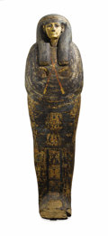 Miscellaneous, An Egyptian Sarcophagus. Egyptian. 21st Dynasty, Circa 1000 B.C..Painted carved wood. 71 inches high. ...