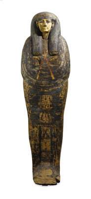 An Egyptian Sarcophagus  Egyptian 21st Dynasty, Circa 1000 B.C. Painted carved wood 71 inches high