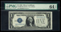 Small Size:Silver Certificates, Two Digit Serial Number 13 Fr. 1600 $1 1928 Silver Certificate. PMG Choice Uncirculated 64 EPQ.. ...