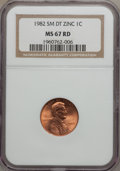Lincoln Cents, 1982 1C Small Date Zinc MS67 Red NGC...