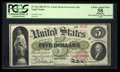 Large Size:Legal Tender Notes, Fr. 61c $5 1862 Legal Tender PCGS Apparent Choice About New 58.. ...