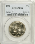 Kennedy Half Dollars: , 1973 50C MS64 PCGS. PCGS Population (30/182). NGC Census: (8/46).Mintage: 64,964,000. Numismedia Wsl. Price: $3. (#6720)...
