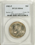 Kennedy Half Dollars: , 1982-P 50C MS64 PCGS. PCGS Population (58/161). NGC Census: (9/52).Mintage: 10,819,000. (#6741)...