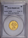 Proof Liberty Half Eagles: , 1864 $5 PR64 Deep Cameo PCGS. PCGS Population (1/1). NGC Census:(2/6). (#98454)...