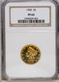 Proof Liberty Half Eagles: , 1905 $5 PR65 NGC. NGC Census: (3/0). PCGS Population (7/0).Mintage: 108. Numismedia Wsl. Price: $24,750. (#8500)...