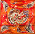 "Luxury Accessories:Accessories, Hermes Orange, Red, Purple, & Black ""Feux du Ciel,"" by Sefedin Silk Scarf. ..."