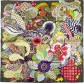 "Luxury Accessories:Accessories, Hermes Olive, Brown, Purple & Red ""Fleurs d'Indiennes"" by Honore Silk Scarf. ..."
