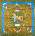 "Luxury Accessories:Accessories, Hermes Olive & Turquoise ""Cheval Turc,"" by Vauzelles SilkScarf. ..."