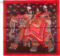 "Luxury Accessories:Accessories, Hermes Red, Pink, & Brown ""Beloved India"" Silk Scarf. ..."