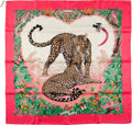 "Luxury Accessories:Accessories, Hermes Limited Edition for the Dallas Zoo Pink & Green ""JungleLove,"" by Dallet Silk Scarf. ..."