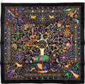 "Luxury Accessories:Accessories, Hermes Black, Gold & Purple ""Peuple du Vent,"" by Henry SilkScarf. ..."