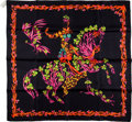 Luxury Accessories:Accessories, Hermes for Neiman Marcus Limited Edition Black, Orange, Pink, &Green Silk Scarf. ...