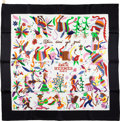 "Luxury Accessories:Accessories, Hermes Black & Multicolor ""Din Tini Ya Zue,"" by Jose SilkScarf. ..."