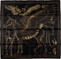 "Luxury Accessories:Accessories, Hermes Black & Gold ""Le Pegase d'Hermes,"" by Renonciat Silk Scarf. ..."
