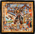 "Luxury Accessories:Accessories, Hermes Black, Orange & Blue ""Tsitsika The Time When Nothing is Real,"" by Oliver Silk Scarf. ..."