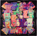 "Luxury Accessories:Accessories, Hermes Black, Red, & Purple ""Voyage en Etoffes"" Silk Scarf. ..."