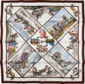 "Luxury Accessories:Accessories, Hermes White, Brown, and Grey ""Voyages en Russie"" Silk Scarf. ..."