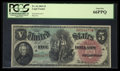 Large Size:Legal Tender Notes, Fr. 64 $5 1869 Legal Tender PCGS Gem New 66PPQ.. ...