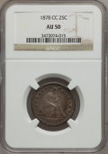 Seated Quarters: , 1878-CC 25C AU50 NGC. NGC Census: (4/199). PCGS Population (5/219).Mintage: 996,000. Numismedia Wsl. Price for problem fre...