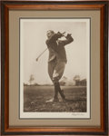 Golf Collectibles:Autographs, Early 1930's Harry Vardon Signed Oversized Photographic Print,PSA/DNA Mint 10....