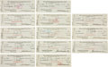 Autographs:Checks, 1922-31 Jacob Ruppert Signed New York Yankees Checks Lot of 13....