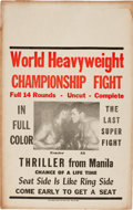 "Boxing Collectibles:Memorabilia, 1975 Ali vs. Frazier ""Thrilla in Manila"" Fight Film Poster...."