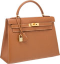 Luxury Accessories:Bags, Hermes 32cm Gold Epsom Kelly Bag with Gold Hardware. ...