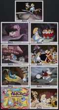 "Movie Posters:Animated, Alice in Wonderland (Buena Vista, R-1974). Lobby Card Set of 9 (11"" X 14""). Animated Fantasy. Starring the voices of Kathryn... (Total: 9 Items)"