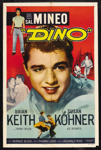 """Dino (Allied Pictures, 1957). One Sheet (27"""" X 41""""). Drama. Starring Sal Mineo, Brian Keith, Susan Kohner and..."""
