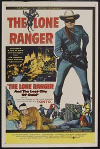 "The Lone Ranger and the Lost City of Gold (United Artists, 1958). One Sheet (27"" X 41""). Western. ""Hi Yo..."