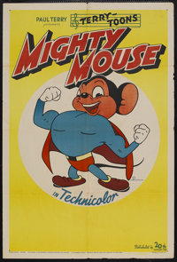 "Mighty Mouse (20th Century Fox, 1943). Stock One Sheet (27"" X 41""). Animated Short. Two years before the relea..."