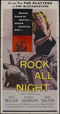"Movie Posters:Rock and Roll, Rock All Night (AIP, 1957). Three Sheet (41"" X 81""). Crime.Starring Dick Miller, Russell Johnson, Abby Dalton, The Platters..."